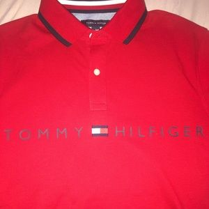 Men's red Tommy Hilfiger polo